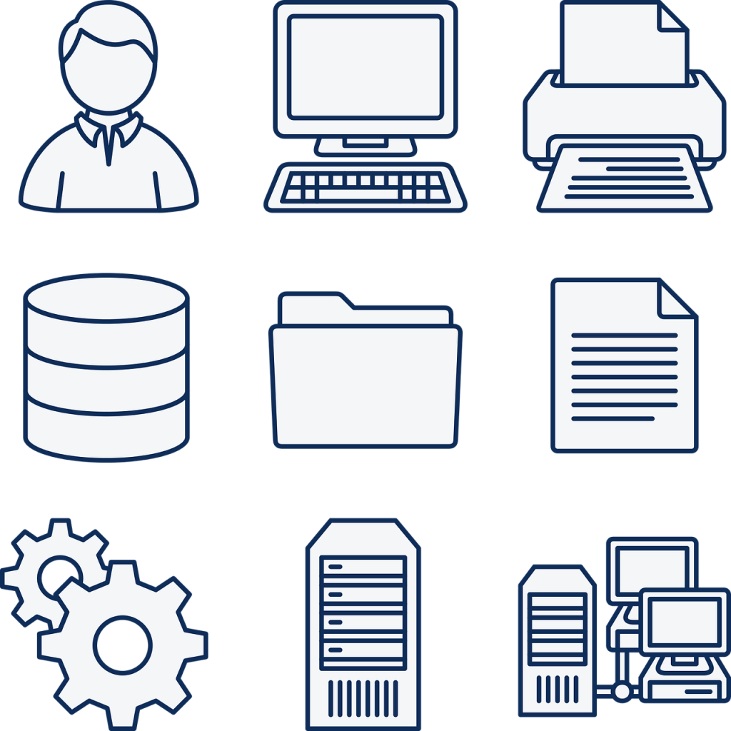 ordinateur, les données, base de données