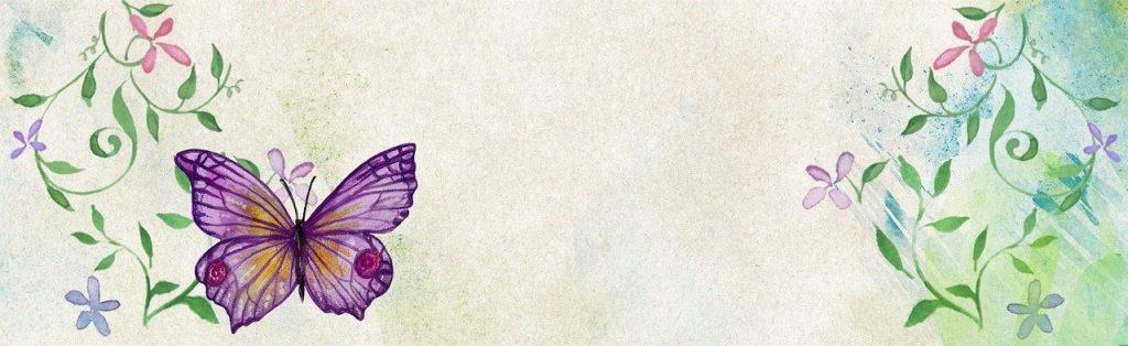 fleur, papillon, bannière